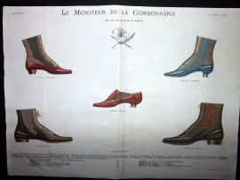Le Moniteur de la Cordonnerie 1893 Rare Hand Colored Shoe Design Print 43